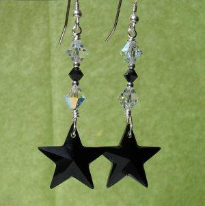 Black Swarovski Crystal Star Earrings