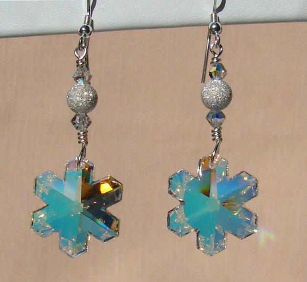 Swarovski Crystal AB Snowflake Earrings - C110