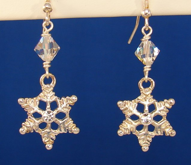 Christmas Silver Snowflake Earrings, Swarovski Crystals -C101