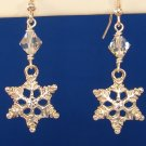 Christmas Silver Snowflake Earrings, Swarovski Crystals -C101