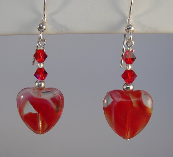 Sterling Silver Red Heart Earrings - R138