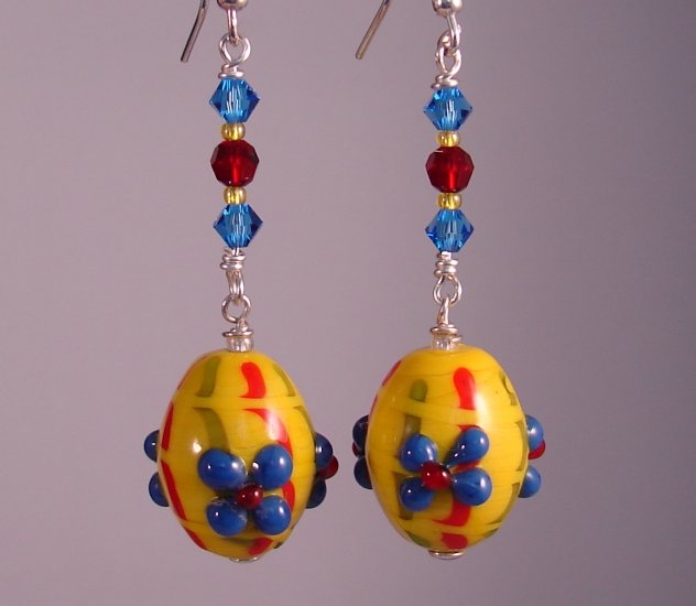 Yellow w/ Blue Flowers Lampwork Easter Egg Earrings - HE106