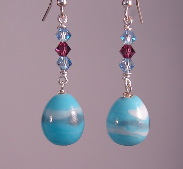 Blue Lampwork Easter Egg Earrings w/ Swarovski Crystals - HE105