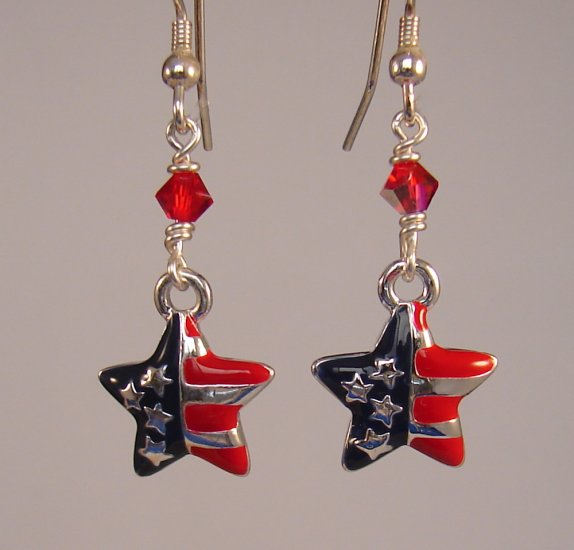 Red White & Blue Star Earrings w/ Swarovski Crystals - H1034