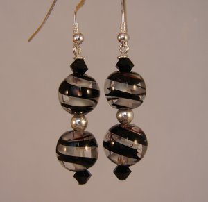 Black / White Glass Swirl Earrings with Swarovski Crystals - BK115