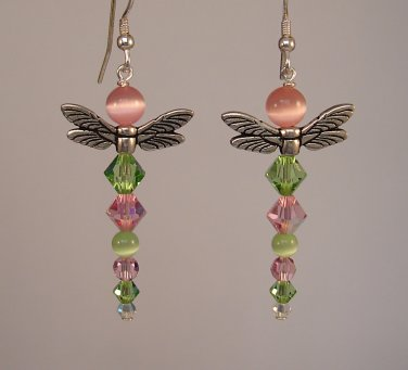 Pink & Green Dragonfly Earrings w/ Cats Eye & Swarovski Crystal Elements - E167
