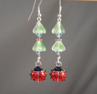 Red Ladybug Earrings w/ Green Glass Flowers and Swarovski Crystals