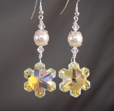 Snowflake Earrings with Swarovski Crystal AB Elements & White Glass Pearls - C111
