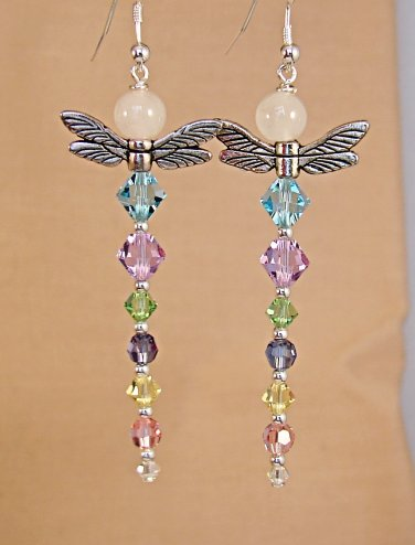 Pink Quartz Multi Colored Dragonfly Earrings w/ Swarovski Crystal Elements - D114