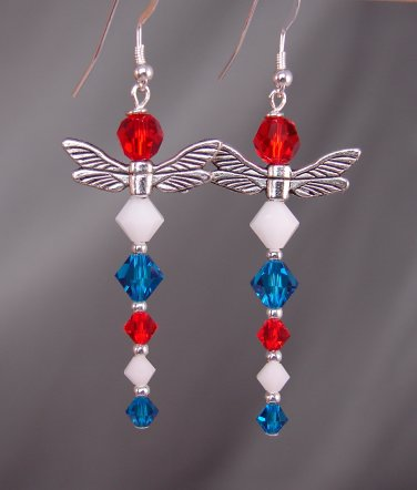 Dragonfly Earrings w/ Red, White & Blue Swarovski Crystal Elements, 4th of July