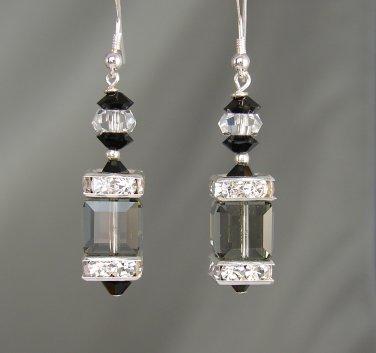 Sterling Silver Black Diamond Swarovski Crystal Cube Earrings