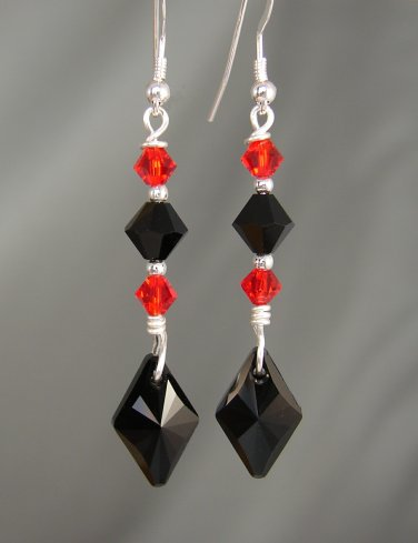 Red & Black Swarovski Crystal Earrings on Sterling Silver Earwires- BL998