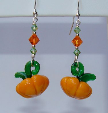Thanksgiving Glass Pumpkin Earrings w/ Swarovski Crystals - H606
