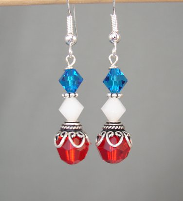 Red White & Blue 4th of July Earrings w/ Swarovski Crystal Elements - H602A