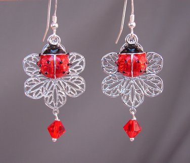Red Ladybug Earrings with Silver Filigree flower & Swarovski Crystals