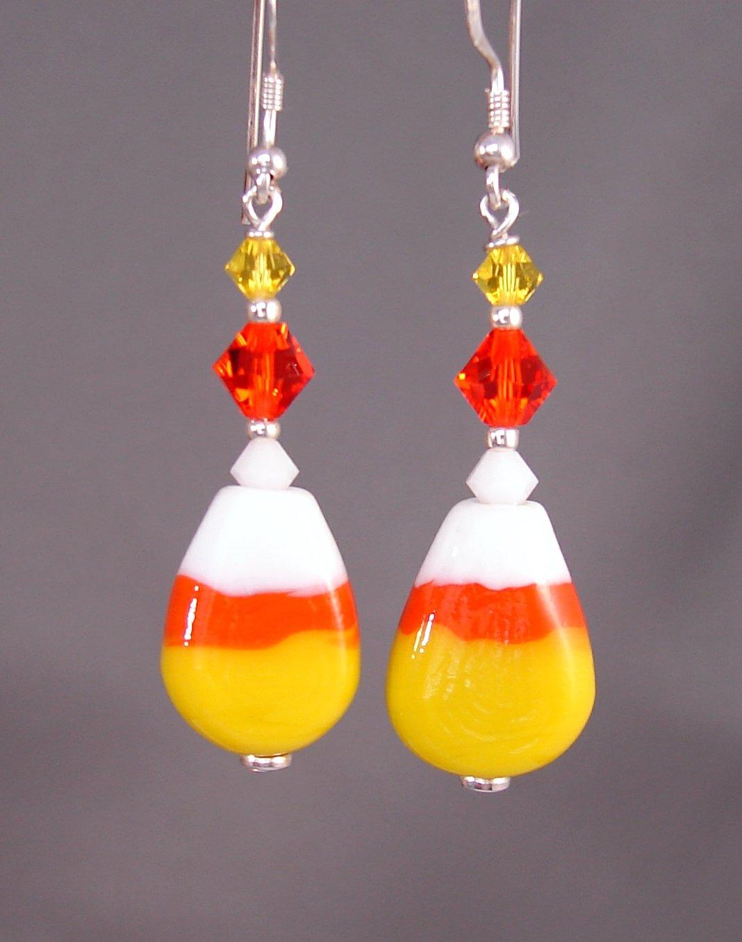 Halloween Lampwork Candy Corn Earrings w/ Swarovski Crystal Elements - H605