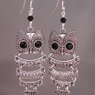 Silver Moving Owl Earrings with Black Swarovski Crystal Elements