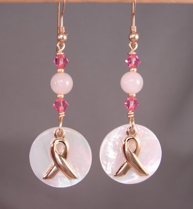 Gold Ribbon Awareness Earrings w/ MOP & Pink Quartz & Swarovski Crystal Elements