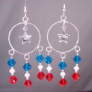 Red White & Blue Chandelier Earrings w/ Swarovski Crystal Elements & Stars