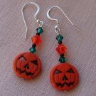 Orange Halloween Pumpkin Jack O' Lantern Earrings w/ Swarovski Crystal Elements - H889