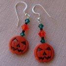 Orange Halloween Pumpkin Jack O' Lantern Earrings w/ Swarovski Crystal Elements - H889