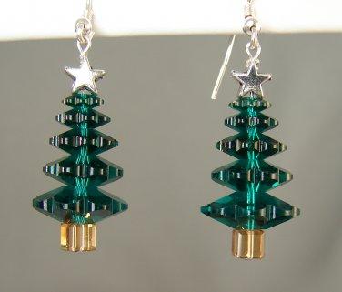 Green Crystal Christmas Tree Earrings with Swarovski Crystal Elements - C0000