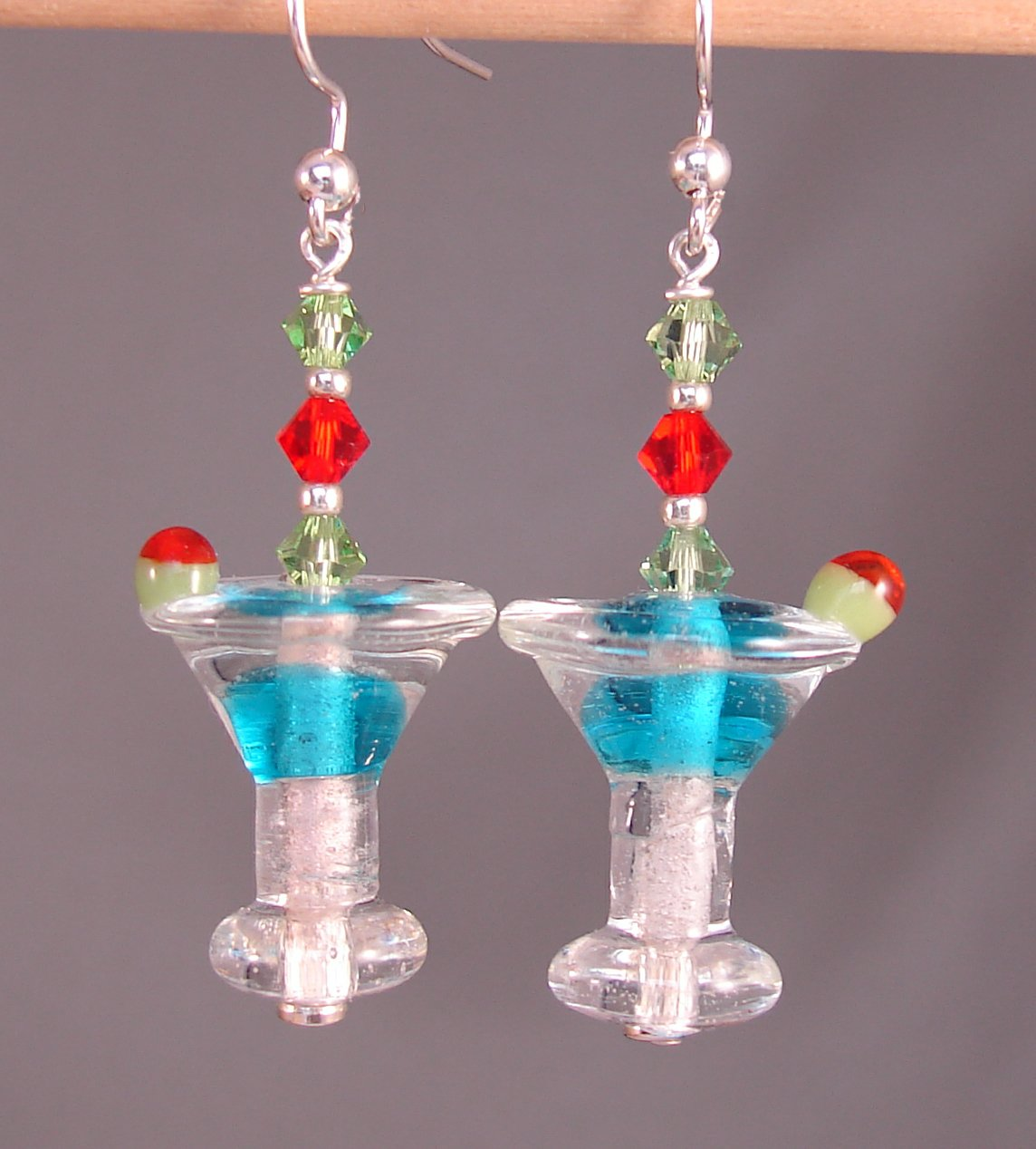 Blue Lampwork Glass Martini Cocktail / Drink Earrings with Swarovski Crystal Elements