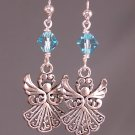 Silver Angel Earrings with Blue Aquamarine Swarovski Crystal Elements-  A114