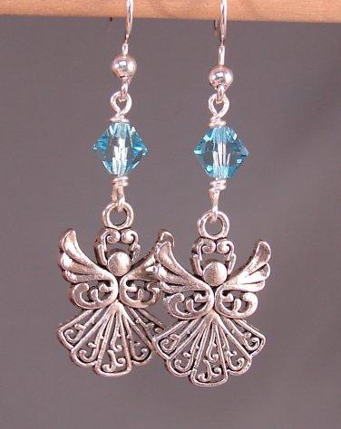 Silver Angel Earrings with Blue Aquamarine Swarovski Crystal Elements-  A114
