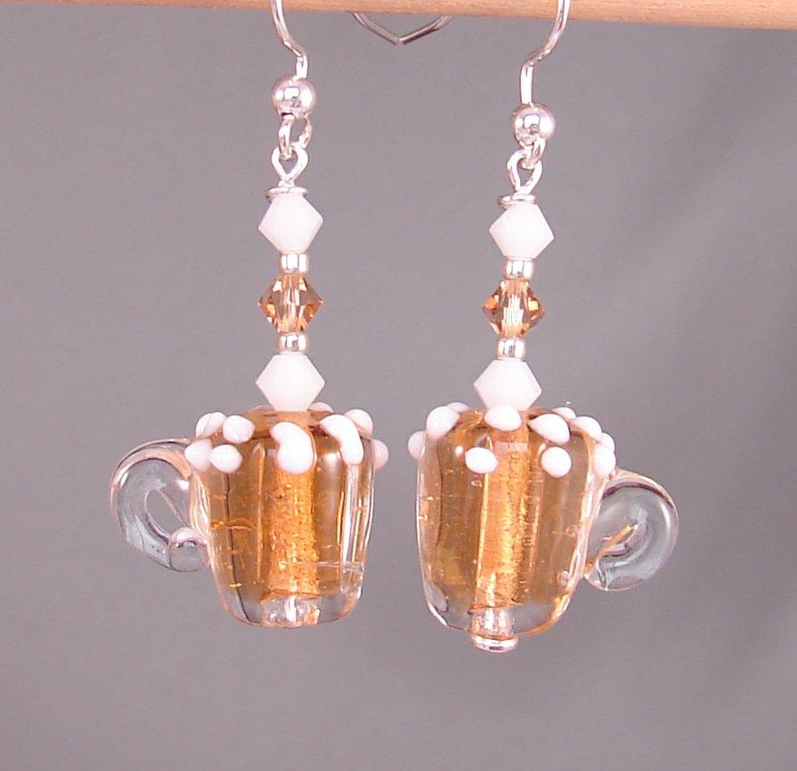 Lampwork Beer Earrings w/ Swarovski Crystal Elements - E175