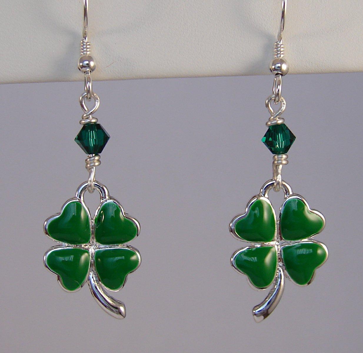 Green Clover / Shamrock  St. Patrick's Day Earrings - E147