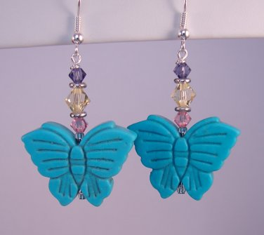 Turquoise Butterfly Earrings w/Purple Yellow & Pink Swarovski Crystal Elements