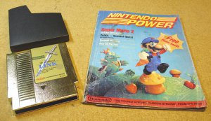 Zelda 2 NES and Nintendo Power magazine 1988 July, August, The Adventure of Link game cartridge
