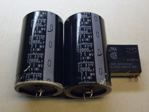 Nichicon Onkyo TXSV727 capacitors 12000 mfd 71 volt, electrolytic filter caps, and a relay, used.