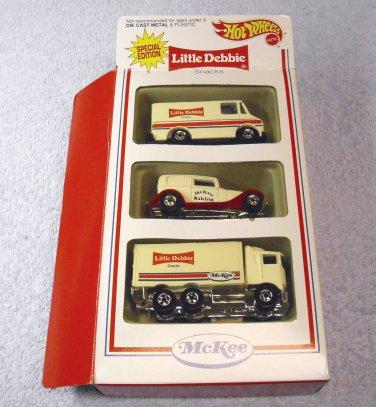 Little Debbie Hot Wheels, 3 car set, box was opened.