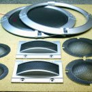 Speaker grills and loudspeaker beauty rings, plastic.