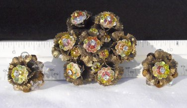 Schiaparelli, vintage brooch pin, pair clip on earrings, 1949 and prior.