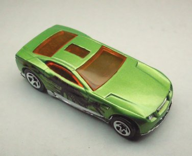 Torque Screw, Hot Wheels metallic lime green die cast car with Dinosaur decals, 2004, Hotwheels.