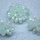 Earrings with brooch vintage set, Lucite bead cluster, light aqua blue, Borealis surface, W Germany.