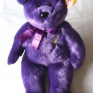 TY, Princess Diana Beanie Buddy, 1998, purple plush bear, Wales Memorial Fund charity, swing tag.