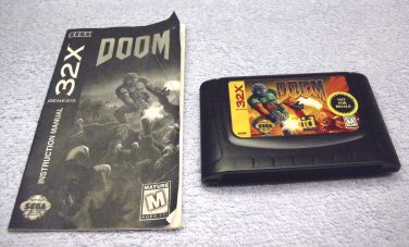 Doom 32x, by id, game cartridge with manual, for Sega 32x platform Genesis, 1994.