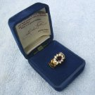 Arlene Dahl Garnet ring, gold plated, clear rhinestones, USA size 7_3/4 , replica ring.