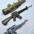 GI Joe ? (3) miniature toy accessory plastic guns, Sniper, Machine gun, Bazooka