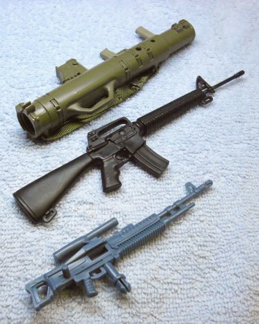 GI Joe ? (3) miniature toy accessory plastic guns, Sniper, Machine gun, Bazooka