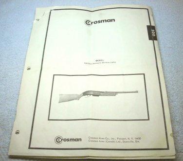 Crosman BB gun repair manual, model 500 semi automatic, parts list, assembly view, 1970