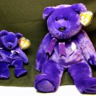 TY, Princess Diana Beanie Buddy AND Baby set, 1998, purple, Wales Memorial Fund charity, swing tag.