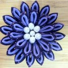 Two Tone Purple Kanzashi Flower on Alligator Clip