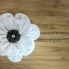 White Kanzashi Flower Bloom on U-pin