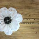 White Kanzashi Flower Bloom on U-pin