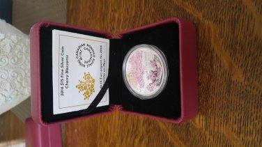 2016 Celebration of Spring $15 Fine Silver Coloured Coin Cherry Blossoms